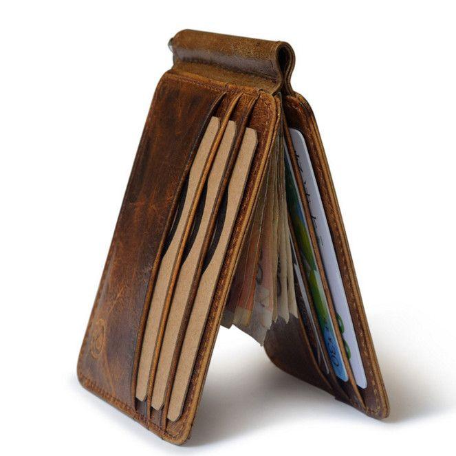 Retro Kuh Leder Brieftasche Männer Geld Clips Qualität Rindsleder Karten Kupplung Brieftaschen Frauen Haushälterin Kupplung Geldbörse
