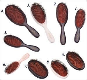 The Rolls Royce of hairbrushes: the Mason Pearson. An investment piece made of pure boar bristle which conditions scalp and hair while brushing and without damaging or straightening curls.