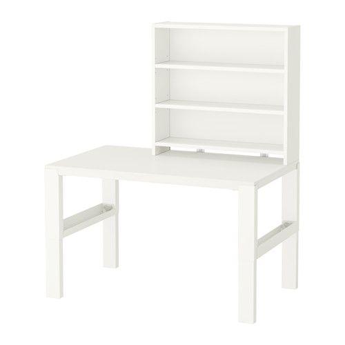 PÅHL Skrivebord med hylde IKEA Skrivebordet er designet, så det kan vokse med dit barn, fordi det kan indstilles i 3 forskellige højder.
