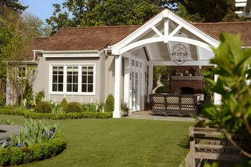 craftsman style covered patio | English craftsman style home renovation, with a new cottage and garage ...