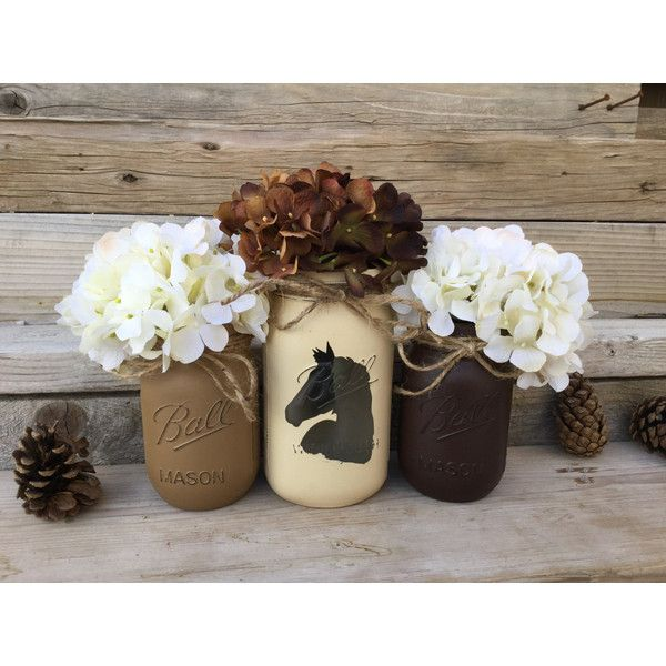 Country Western Decor Horse Decor Rustic Country Decor Cowboy Decor... ($25) ❤ liked on Polyvore featuring home, home decor, grey, home & living, home décor, horse home decor, cowboy home decor, clear glass jars, grey home decor and gray home decor