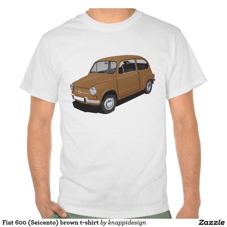 Fiat 600 (Seicento) brown t-shirt  Fiat 600 (Seicento) black t-shirt  #fiat #fiat600 #seicento #tshirt #tshirts #tpaita #troja #skjorta #italy #automobile #bilar #auto #classic #vintage