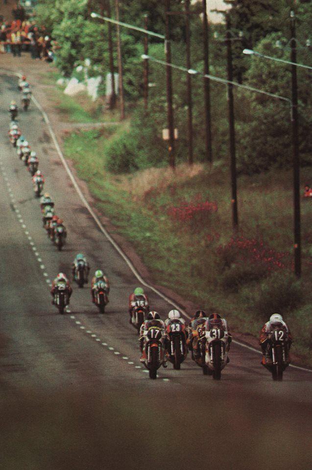GP Finland Imatra 1976. 350cc # 12 Charlie Williams ?, #31 Jon Ekerold ( 7th placed )# 7 Gerard Choukroun (6th), # 27 Patrick Fernandez ( 10th), # 23 Gianfranco Bonera, # 17 JF Baldé (11th) , # 15 Karl Auer ( 14th) , #16 Alex George, # 29...