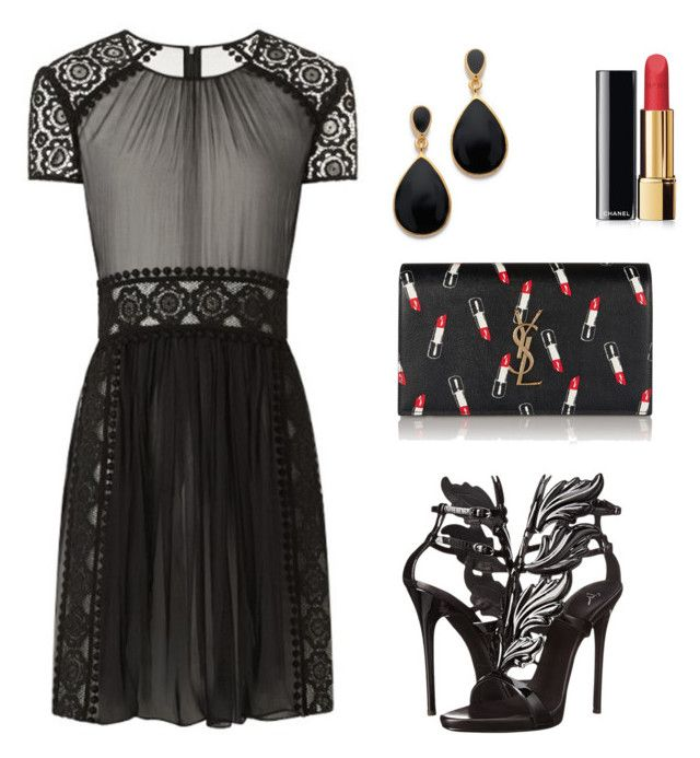 """Fancy in Black"" by lorena-cuttler on Polyvore featuring Burberry, Giuseppe Zanotti, Yves Saint Laurent, Chanel and Kenneth Jay Lane"