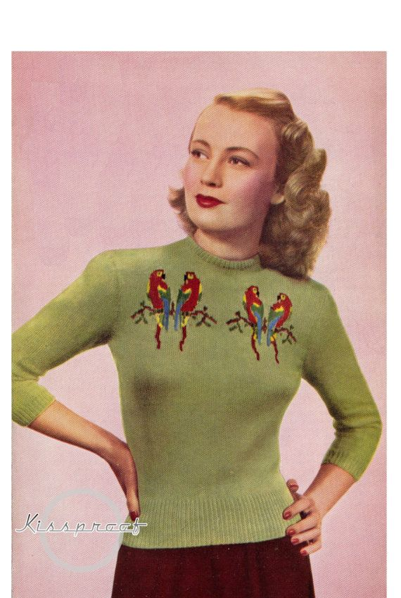 Vintage 40's Knit Love Birds Sweater PDF by KissproofGirly