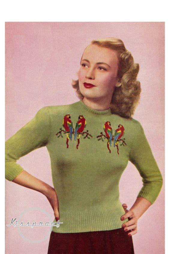 Vintage 40's Knit Love Birds Sweater  PDF Pattern  by kissproof