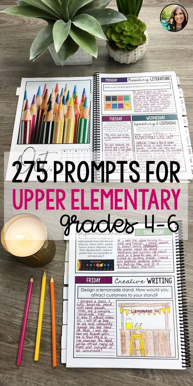 Upper elementary bell ringer prompts | Elementary education | Bell ringer journal | Journal prompts for grades 6-12 | Fourth grade resources | Fifth grade activities | Sixth grade English | ELA Resources