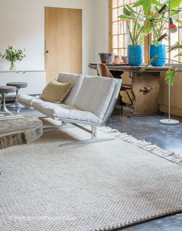Brittany Cream Rug Luxury Modern Flat Woven Designer Carpet Wool Viscose