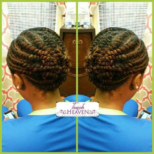 Flat twist updo on natural hair ❤  www.touchofheavensalon.com