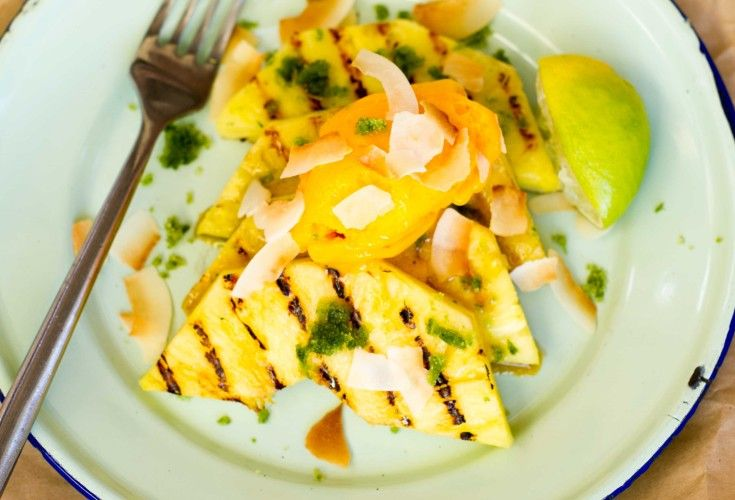 Grilled Pineapple, Mango Sorbet and Basil Lime Sugar - Nadia Lim
