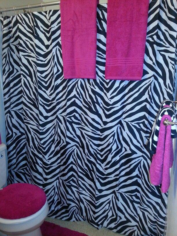 Hot pink and zebra bathroom