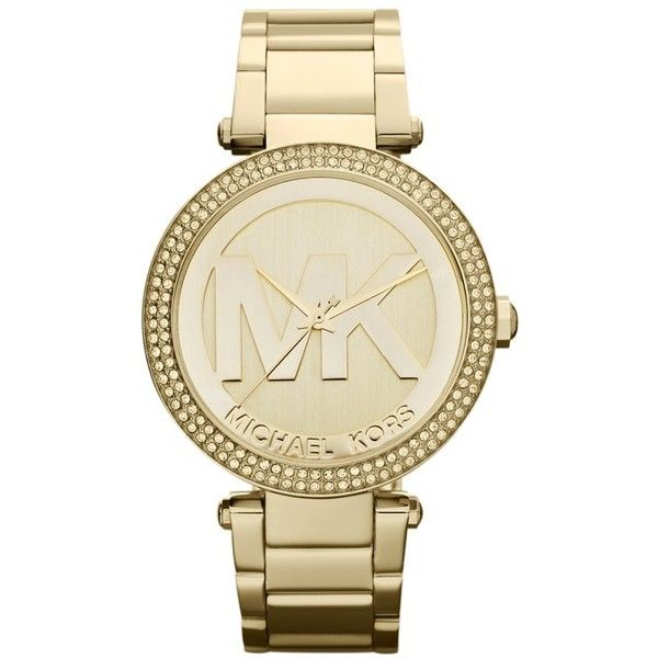 Michael Kors 'Parker' Logo Dial Bracelet Watch, 39mm ($250) ❤ liked on Polyvore featuring jewelry, watches, bracelets, michael kors, gold, bracelet jewelry, bezel bracelet, bezel watches, bracelet watches and clasp bracelet