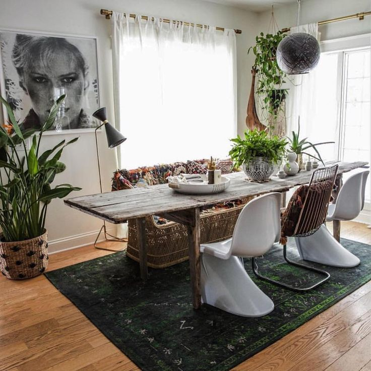 Boho Dining Area | Flea Market Fab + Rugs Direct | Louis De Poortere  Diamond Rug