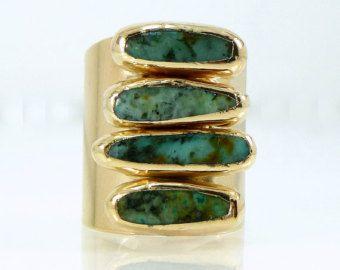 Anillo oro turquesa declaración anillo oro turquesa por inbalmishan