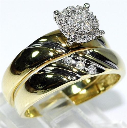 his her wedding rings set trio men women 10k yellow gold real diamonds ebay - Ebay Wedding Ring Sets