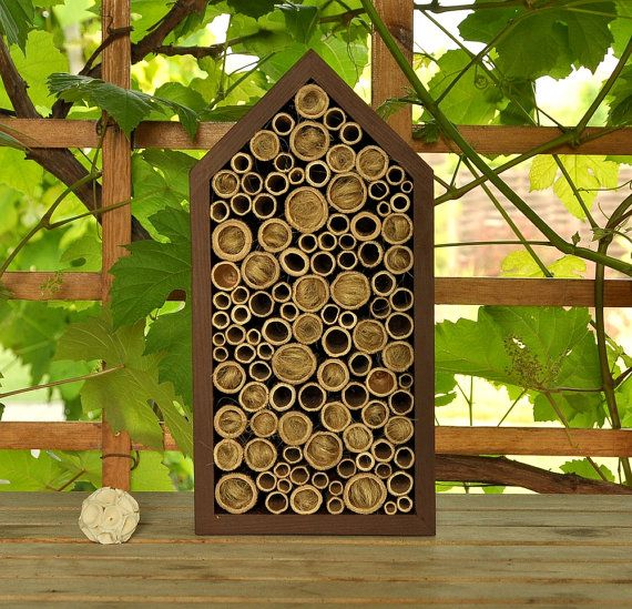 Bee hotel for solitary bees home and outdoor decor wood for Bee decorations for the home