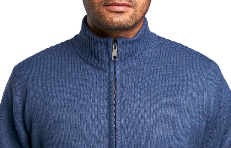 Gilet zippé bleu coudières à motifs fil italien, - Chemise Homme