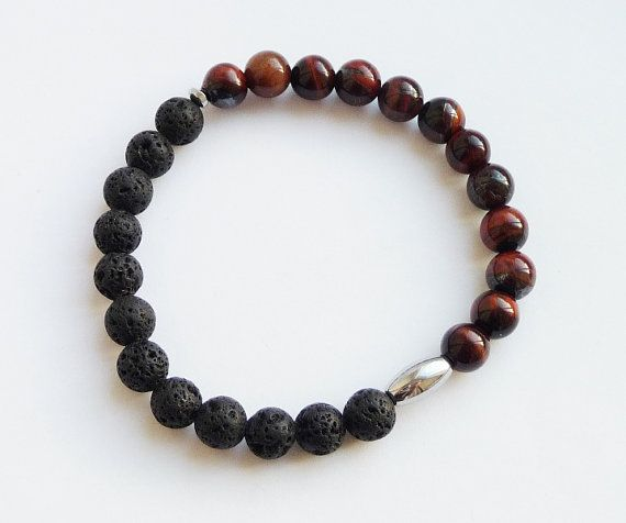 LavaTiger EyeHematite //Meditation Bracelet Men's by MiTTiNaturals
