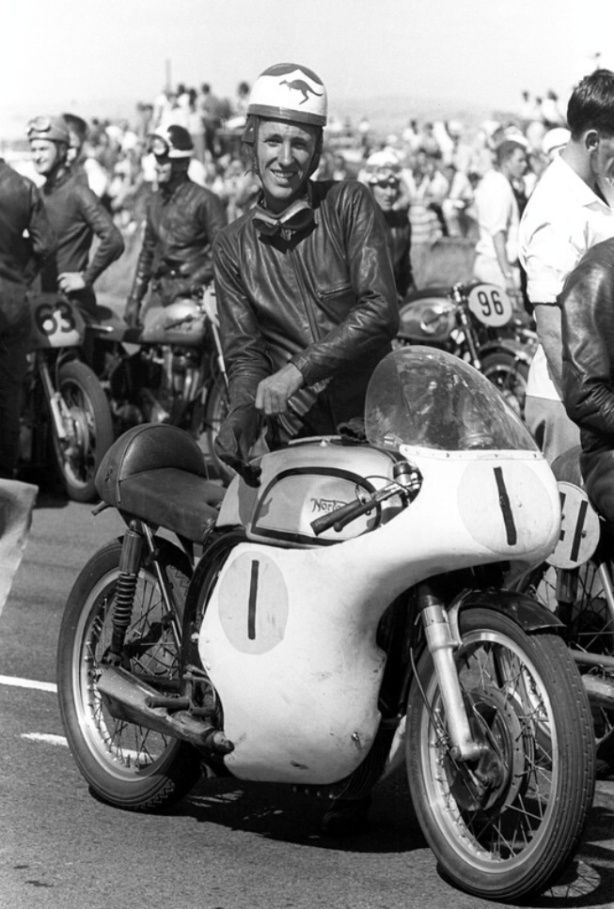 """tulikas: """"Tom Phillis aboard a Norton on the Fishermans Bend, Melbourne grid in February 1959. """""""
