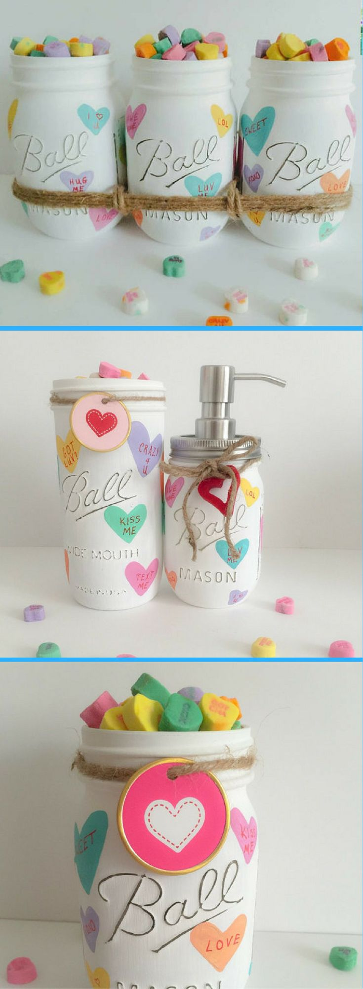 Love these handpainted distressed Valentine inspired Mason Jars.  Different styles to choose from. Love the soap dispenser as well! Mason Jars Centerpiece. Valentines Day Mason Jars Decor. Distressed Mason Jars. Valentines Day 2018 #Ad #valentinesday #homedecor #masonjars