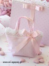 Μπομπονιέρα βάπτισης υφασμάτινο τσαντάκι ροζ ασημί πουά