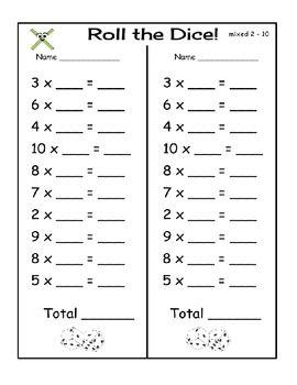 ROLL THE DICE - MULTIPLICATION GAME - TeachersPayTeachers.com