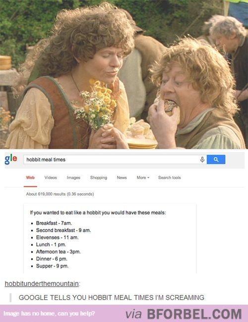 I could eat like a Hobbit