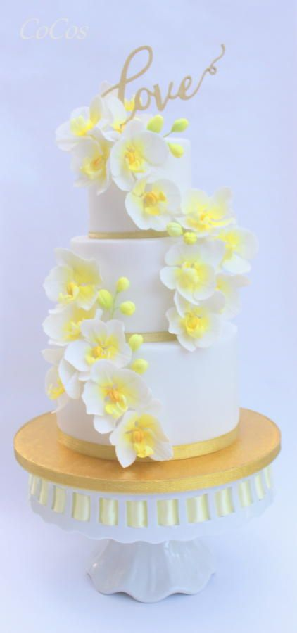 Orchid wedding  anniversary cake  by Lynette Brandl - http://cakesdecor.com/cakes/284010-orchid-wedding-anniversary-cake
