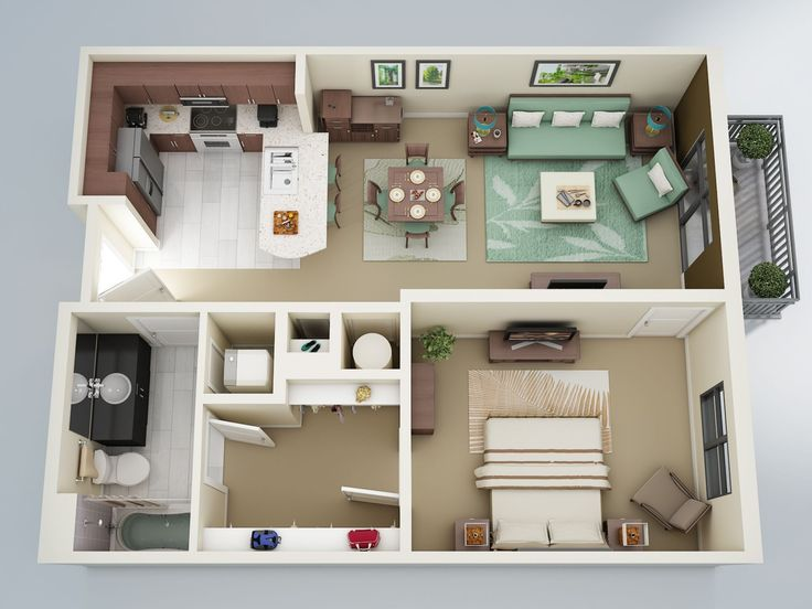 "50 One ""1"" Bedroom Apartment/House Plans  I loved #6-Modern-One-Bedroom-with-Large-Closet"
