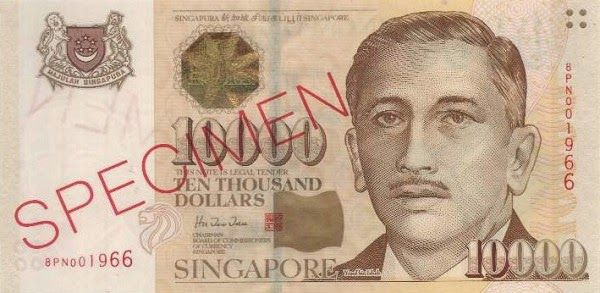 Singapore banknotes 10000 Dollars banknote Portrait Series (1999–present). Singapore dollar, Singapore banknotes $10000 SGD, Singapore paper money 10000 dollar note, Singapore bank notes, Singapore dollar bills - world banknotes money currency pictures gallery.