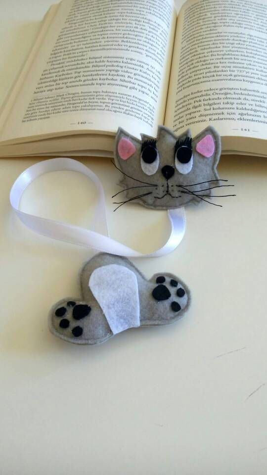 Cat bookmark Book lover gift Book mark with ribbon