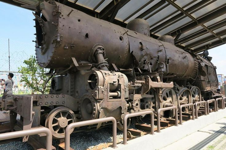 Steam locomotive is a symbol of the tragic history of the division of North and South Korea left in the DMZ since it was derailed by bombs during the Korean War.
