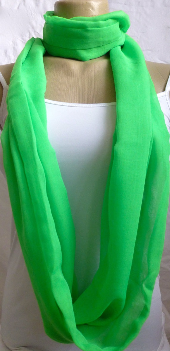 Infinity Scarf Bright lime green Soft 3 Loop by ShawlsandtheCity, $17.00
