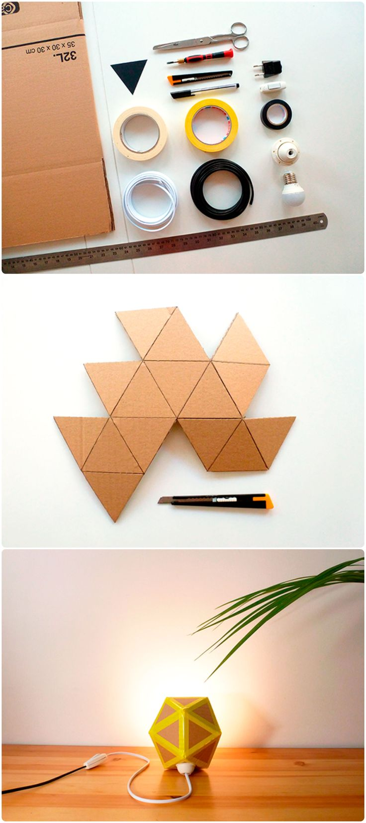 I'm sure you won't never throw any cardboard remain away after seeing this tutorial ;) Learn how to make a cute origami inspired lamp recycling cardboard boxes. Blog in Spanish but with lots of pictures!…