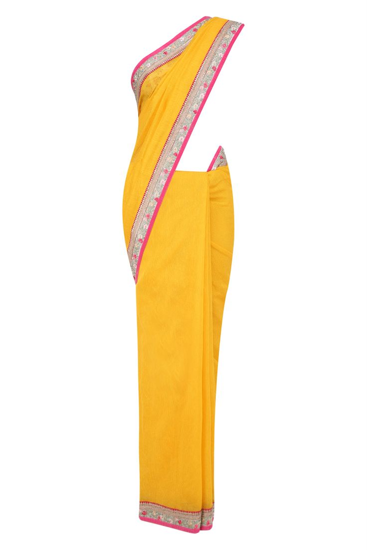 Yellow striper fletcher saree with beige lurex bird work blouse piece available…