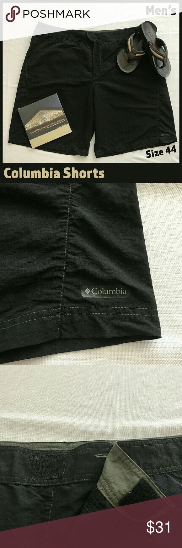 """🆕 Men's Columbia Sportswear Black Shorts These light nylon shorts from Columbia Sportswear are in EUC and will quickly become your favorite summer shorts!  They have velcro closures at both the waist and back pockets.   Inseam measurement: 12""""   From a smoke-free and happy-to-bundle closet.   The Abercrombie & Fitch flip-flops are available in a separate listing.    No trades or transactions outside of Poshmark.  [T290] Columbia Shorts"""
