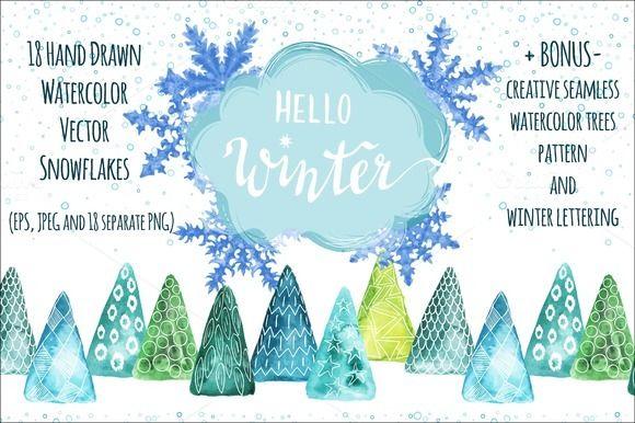 Vector Watercolor Snowflakes+ Bonus by Irina on @creativemarket