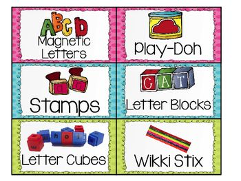 Word Work Center Labels