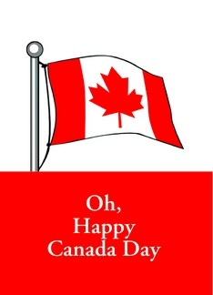 Oh Canada Day with Canadian Flag and maple leaf Greeting Card