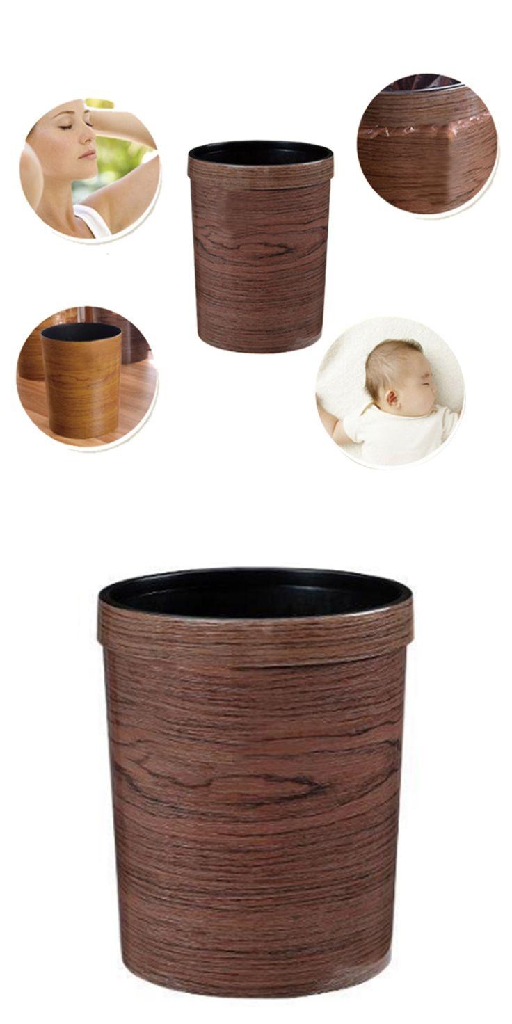 HIPSTEEN Retro Style Pressing Ring Plastic Trash Can Household Office Mimetic Wood Grain Garbage Bin - Dark Brown