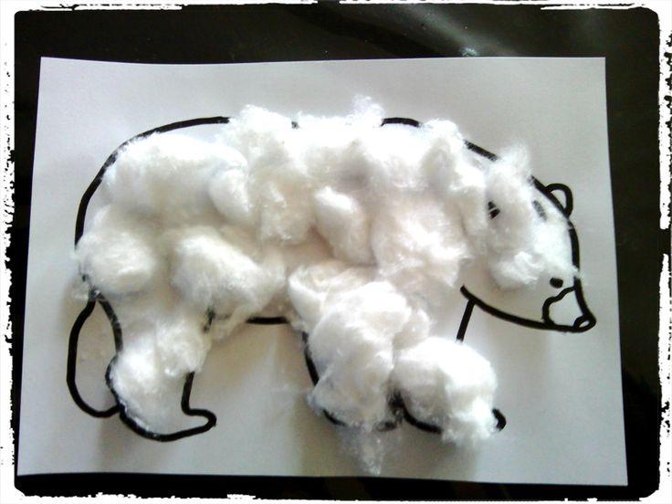 bricolage hiver, animaux, froid, ours blanc, collage coton, motricité