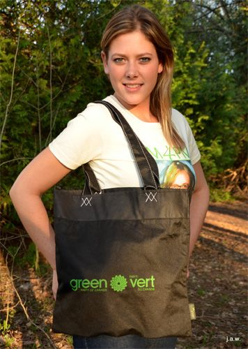 "Shop in style with your custom GPC tote!  100% Recycled PET Tote.  Made from certified 100% post-consumer recycled material.  Non-Woven Polypropylene.  Open main compartment.  Slim design (15"" H x 14.75"" W x 1"" L).  12"" handle drop height.  EcoSmart Educational Hang Tag.  Hand-washable.  Can hold up to 40 pounds."