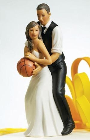 Basketball Dream Team Couple Cake Topper (Dark Skin Tone)