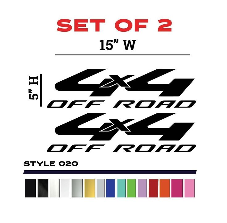 """Toyota 4 x 4 Off Road Bedside Decals Set 15""""W x 5""""H - STYLE 20"""