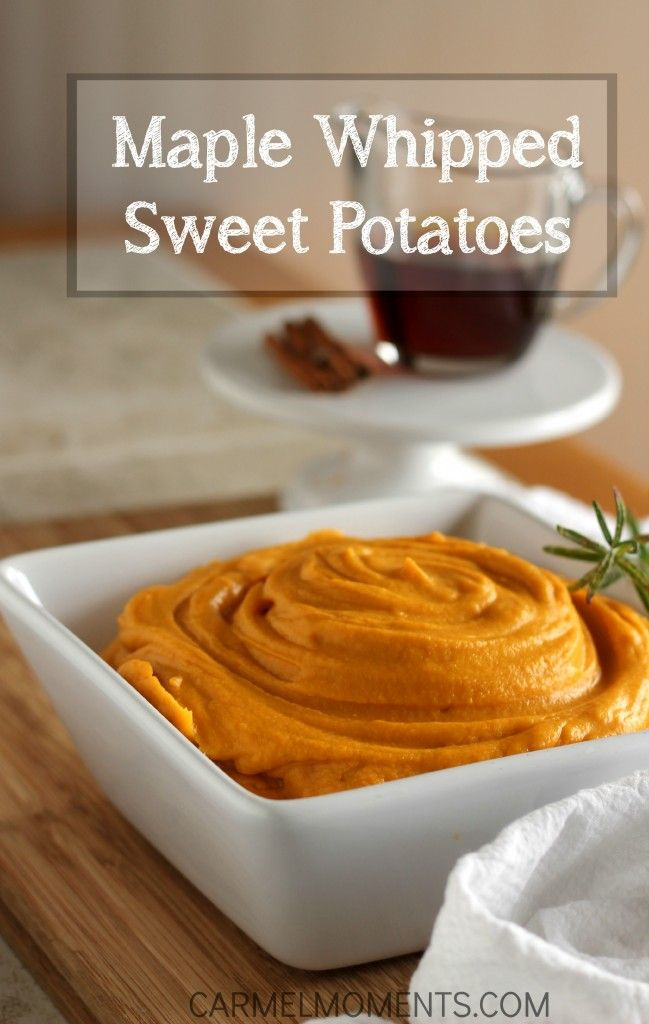 Maple Whipped Sweet Potatoes - Thanksgiving side dish of sweet mashed potatoes. Topped with some maple glaze. A favorite pin!