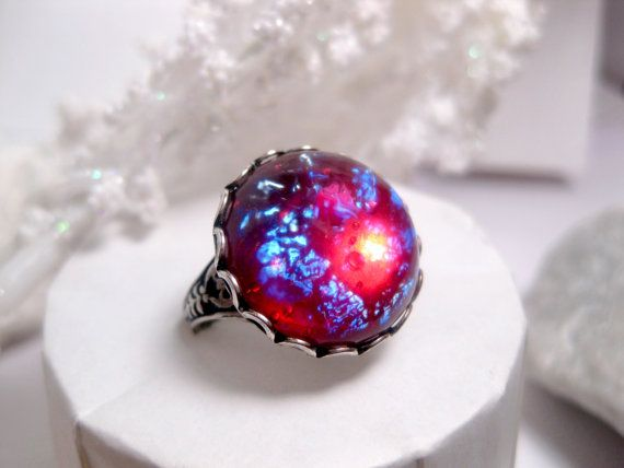 Round Dragon's Breath Opal Ring by FashionCrashJewelry on Etsy, $22.00
