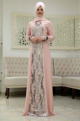 Som Fashion Pudra Damla Tesettür Abiye Elbise
