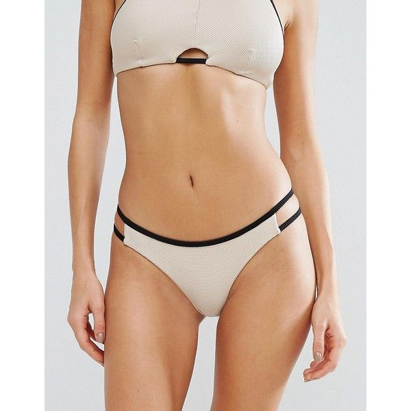 RVCA Ribbed Cut Out Bikini Bottom ($48) ❤ liked on Polyvore featuring swimwear, bikinis, bikini bottoms, beige, cut out swimsuit, cut-out bikinis, swimsuits two piece, side cut out swimsuit and cut-out swimsuits