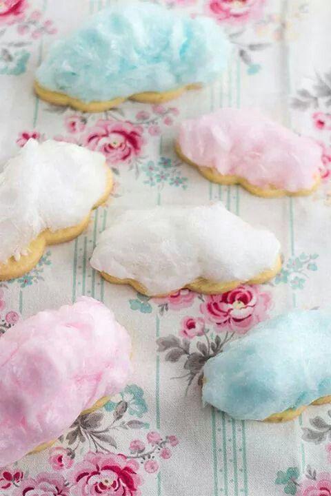 Galletas de mantequilla con algodon d azucar!! Ingeniosas y lindas