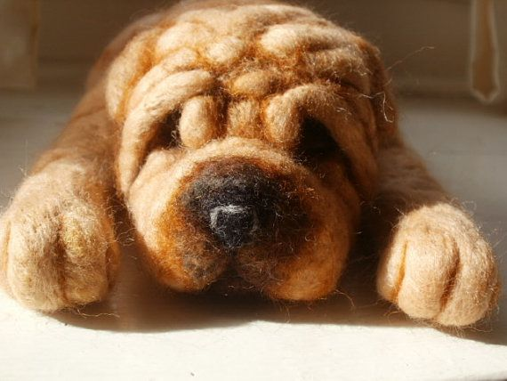 Needle Felted Dog Shar Pei Dog Sculpture Vinny  OOaK by LaCharmour, $115.00